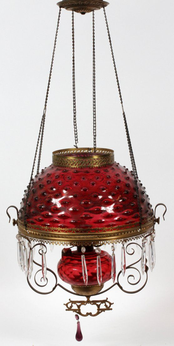 VICTORIAN CRANBERRY HOBNAIL GLASS HANGING LAMP