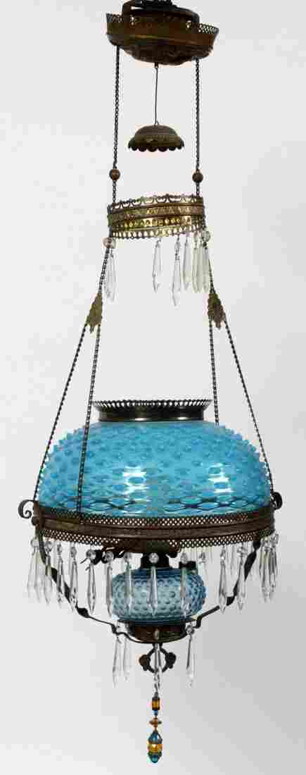 VICTORIAN BLUE HOBNAIL GLASS HANGING LAMP 19TH C.