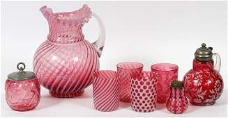 VICTORIAN CRANBERRY OPALESCENT GLASS TABLEWARE
