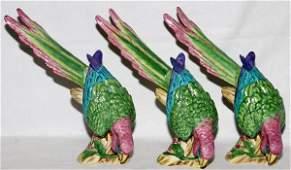 LYNN CHASE PORCELAIN MACAW BIRDS 1989 THREE
