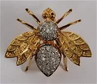 LADYS 18 KT AND DIAMOND BUMBLE BEE PIN