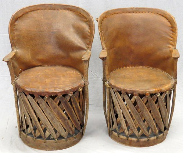 MEXICAN LEATHER AND BENTWOOD CHAIRS PAIR