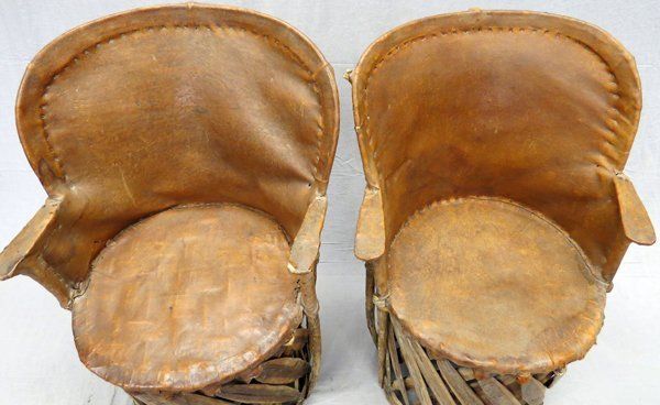 MEXICAN LEATHER AND BENTWOOD CHAIRS PAIR - 2