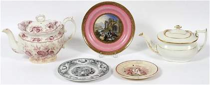 ENGLISH CERAMIC PLATES  TEAPOTS MIDLATE 19TH C