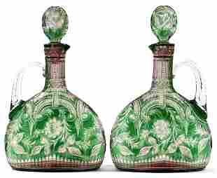 STEVENS & WILLIAMS INTAGLIO CUT GLASS CLARET JUGS