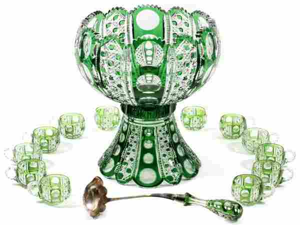 DORFLINGER 'MONTROSE' GLASS PUNCHBOWL SET C. 1900