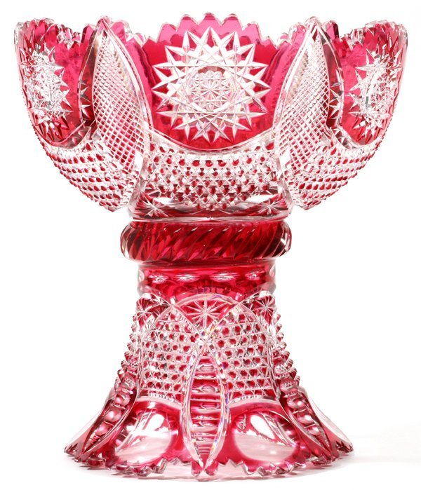 BERGEN CRANBERRY-TO-CLEAR GLASS PUNCHBOWL C. 1898