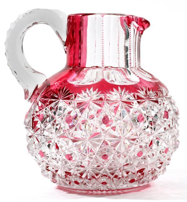 AMERICAN  BRILLIANT CUT GLASS PITCHER C. 1900