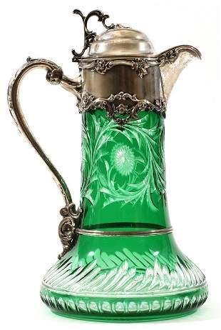 STEVENS & WILLIAMS GLASS & STERLING EWER C. 1897