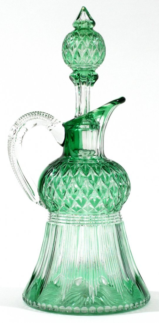 STEVENS & WILLIAMS GREEN-TO-CLEAR GLASS DECANTER