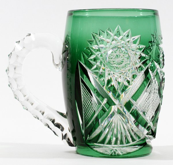 AMERICAN GREEN-TO-CLEAR GLASS MUG C. 1900