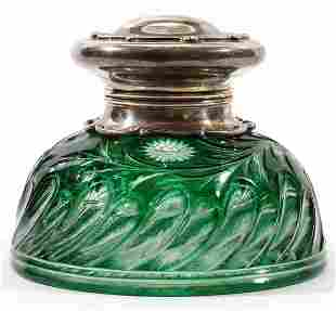 STEVENS & WILLIAMS GLASS &STERLING MOUNTED INKWELL