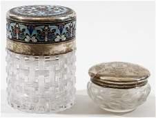 AMERICAN ENAMELED STERLING MOUNTED CUT GLASS JARS