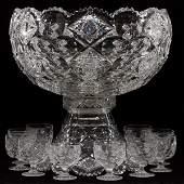 HAWKES BRILLIANT CUT GLASS PUNCHBOWL & CUPS C. 1900