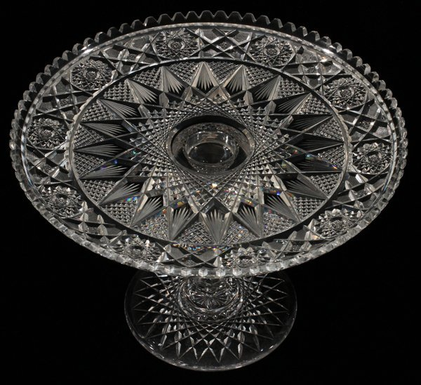 AMERICAN BRILLIANT CUT GLASS TWO-PIECE CAKE STAND - 2