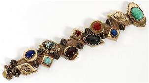 LATE VICTORIAN GOLD FILLED SLIDE BRACELET C 1900