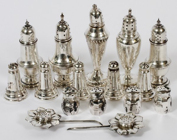 STERLING SALT & PEPPER SHAKERS 17 PIECES