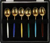 DAVID ANDERSEN STERLING SILVER AND ENAMEL SPOONS
