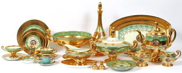 PLATINUM AND GOLD DECORATED BOHEMIAN DINNERWARE