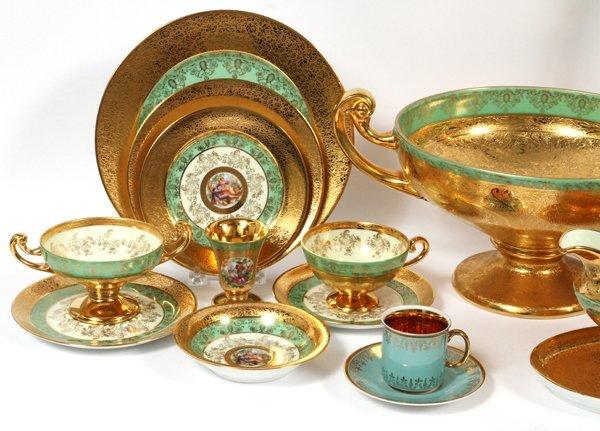 PLATINUM AND GOLD DECORATED BOHEMIAN DINNERWARE - 2
