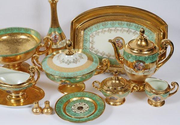 PLATINUM AND GOLD DECORATED BOHEMIAN DINNERWARE - 3