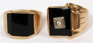 KABANA & ART DECO GOLD & ONYX GENTLEMAN'S RINGS