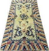 CHINESE HAND WOVEN WOOL RUG C 1860
