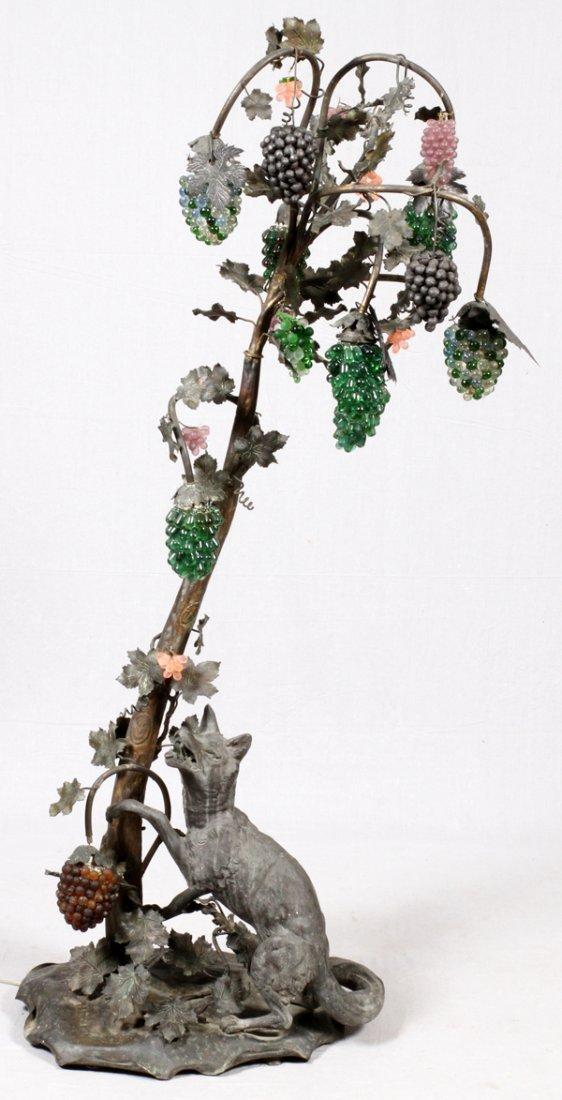 ART NOUVEAU PATINATED METAL & GLASS LAMP
