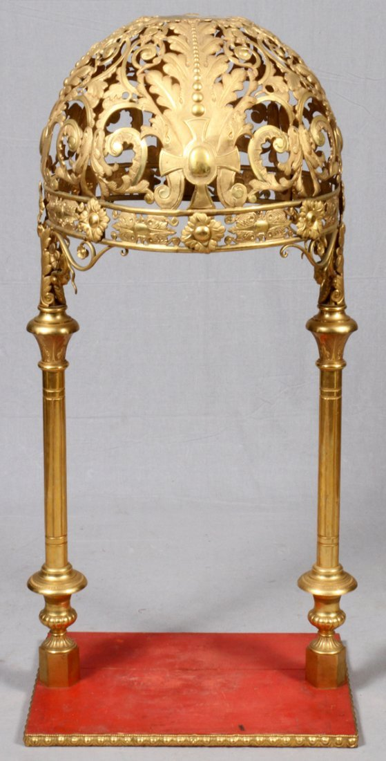 CONTINENTAL PIERCED GILT METAL DOMED CANOPY