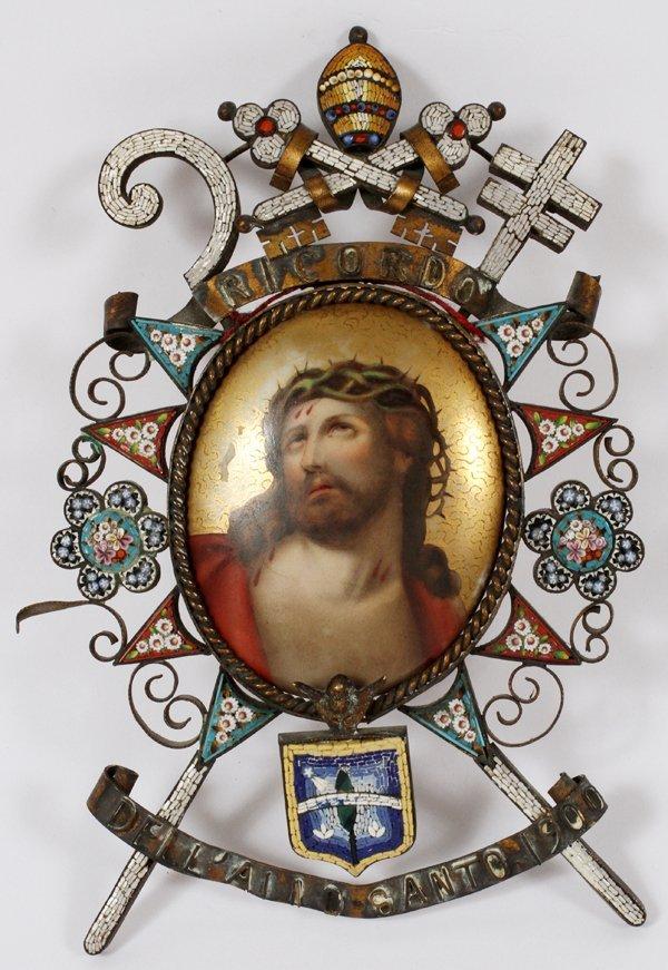 ITALIAN MICRO-MOSAIC FRAMED PORCELAIN PORTRAIT