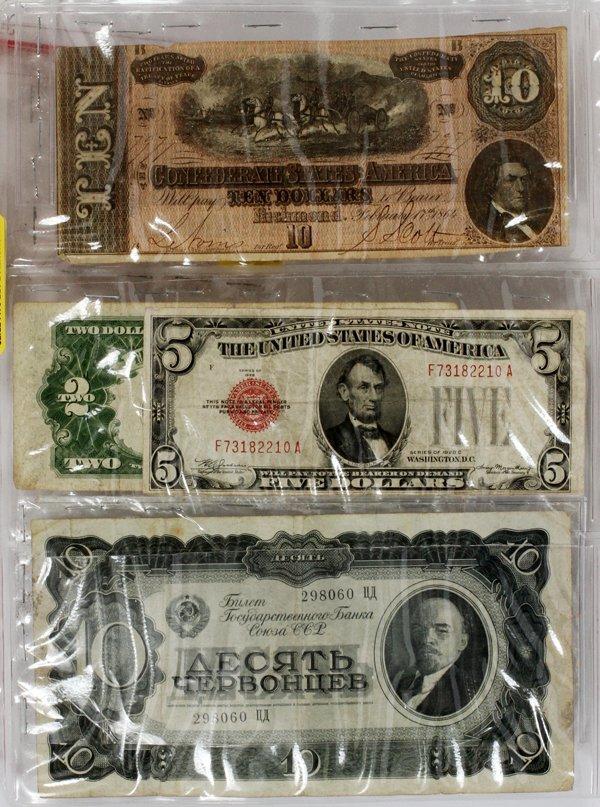 CONFEDERATE $10.PAPER NOTE #7971 $5 RED SEAL 1864