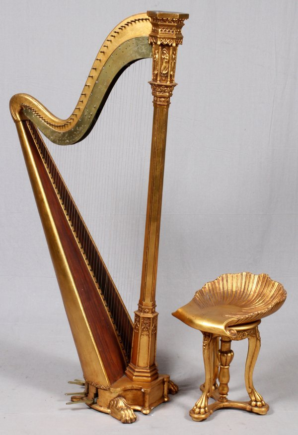 BROWNE & BUCKWELL GILT WOOD HARP & STOOL C. 1873-78