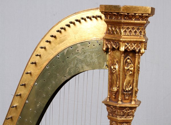 BROWNE & BUCKWELL GILT WOOD HARP & STOOL C. 1873-78 - 2