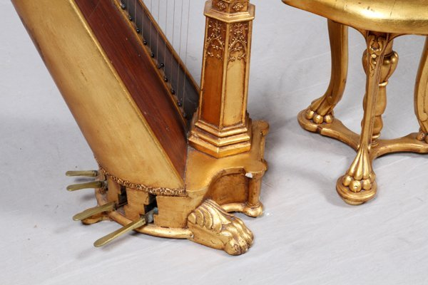 BROWNE & BUCKWELL GILT WOOD HARP & STOOL C. 1873-78 - 3