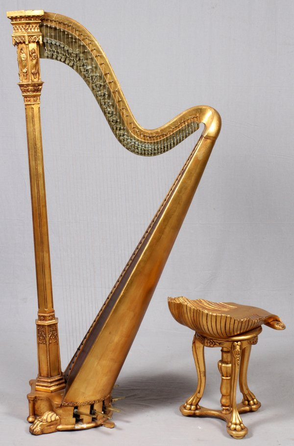 BROWNE & BUCKWELL GILT WOOD HARP & STOOL C. 1873-78 - 4