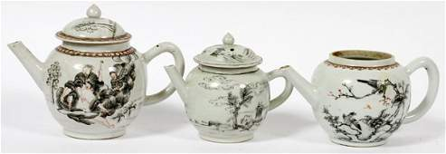 CHINESE EXPORT GRISAILLE PORCELAIN TEAPOTS