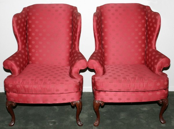SHERRILL UPHOLSTERED WINGBACK CHAIRS PAIR