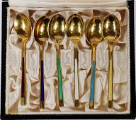 MEKA DANISH STERLING  ENAMEL SPOONS MID 20TH C
