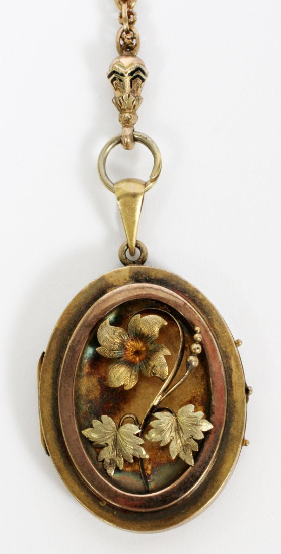 ANTIQUE GOLD FILLED LOCKET & NECK CHAIN C. 1880