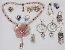 ASSORTED COSTUME JEWELRY ELEVEN PIECES