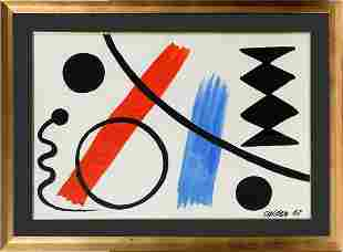 "ALEXANDER CALDER, GOUACHE 1967 H 29"" W 42"""