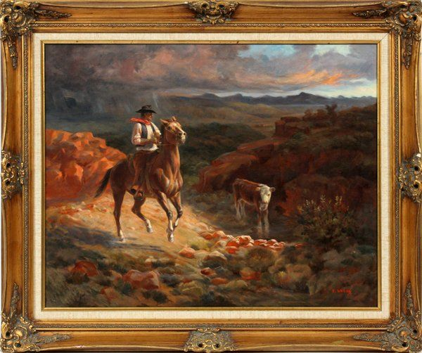 F. DADAY AMERICAN OIL ON CANVAS 20TH C.