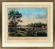CURRIER & IVES HAND COLORED LITHOGRAPH 1852