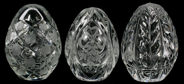 RUSSIAN FABERGE CRYSTAL EGG-FORM PAPERWEIGHTS