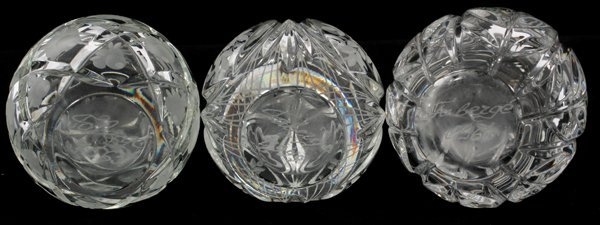 RUSSIAN FABERGE CRYSTAL EGG-FORM PAPERWEIGHTS - 2