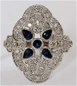 18KT WHITE GOLD DIAMOND & SAPPHIRE RING SIZE 8 3/4