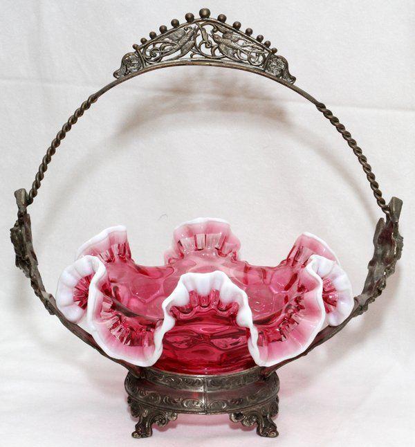 VICTORIAN GLASS & SILVERPLATE BRIDE'S BASKET