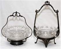 VICTORIAN GLASS  SILVERPLATE BRIDES BASKETS
