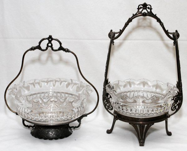 VICTORIAN GLASS & SILVERPLATE BRIDE'S BASKETS
