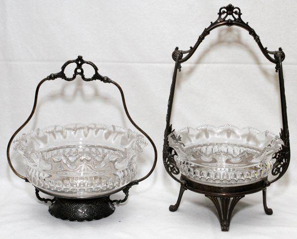 VICTORIAN GLASS & SILVERPLATE BRIDE'S BASKETS